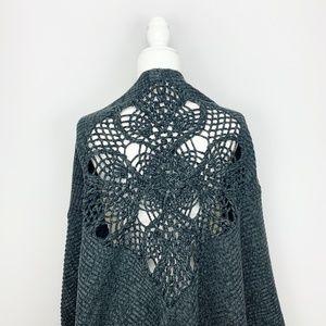FREE PEOPLE Handicraft Gray Crochet Wrap